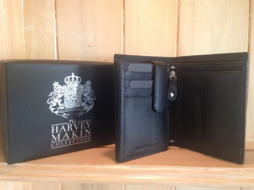 Men's Black Leather Multi Function Wallet by Harvey Makin in gift box